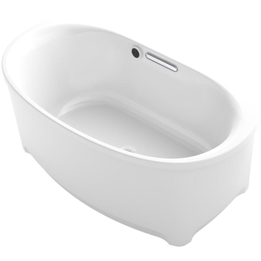 KOHLER Underscore White Acrylic Oval Freestanding Bathtub with Center Drain (Common: 36-in x 60-in; Actual: 24.375-in x 35.75-in x 60-in)