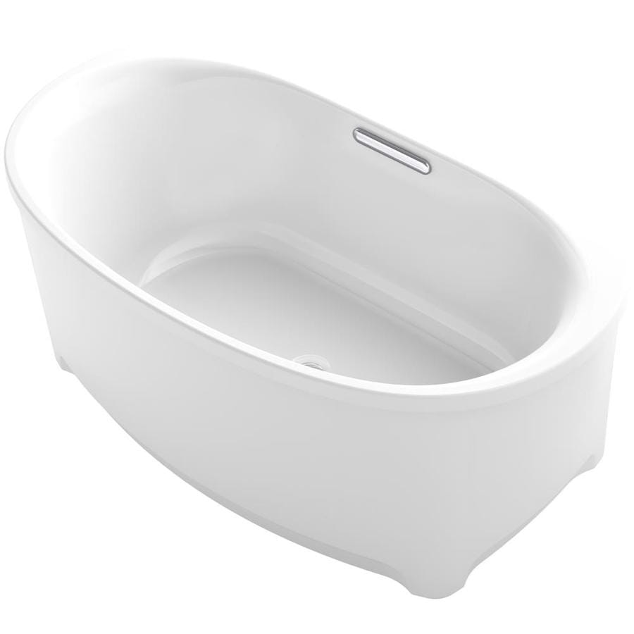 KOHLER Underscore White Acrylic Oval Freestanding Bathtub with Center Drain (Common: 36-in x 60-in; Actual: 24.375-in x 35.75-in x 59.6875-in)