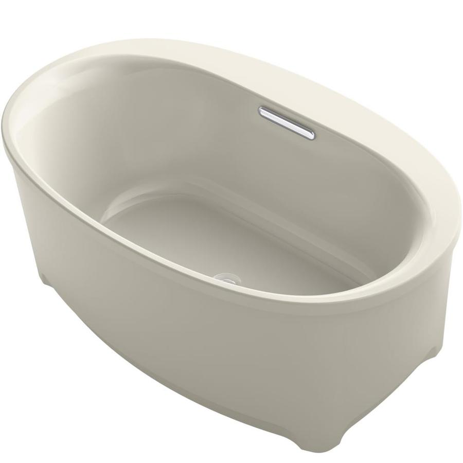 KOHLER Underscore Sandbar Acrylic Oval Freestanding Bathtub with Center Drain (Common: 36-in x 60-in; Actual: 24.375-in x 35.75-in x 59.6875-in)