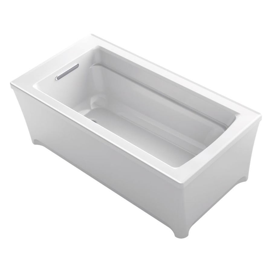 KOHLER Archer 62-in White Acrylic Freestanding Bathtub with Reversible Drain