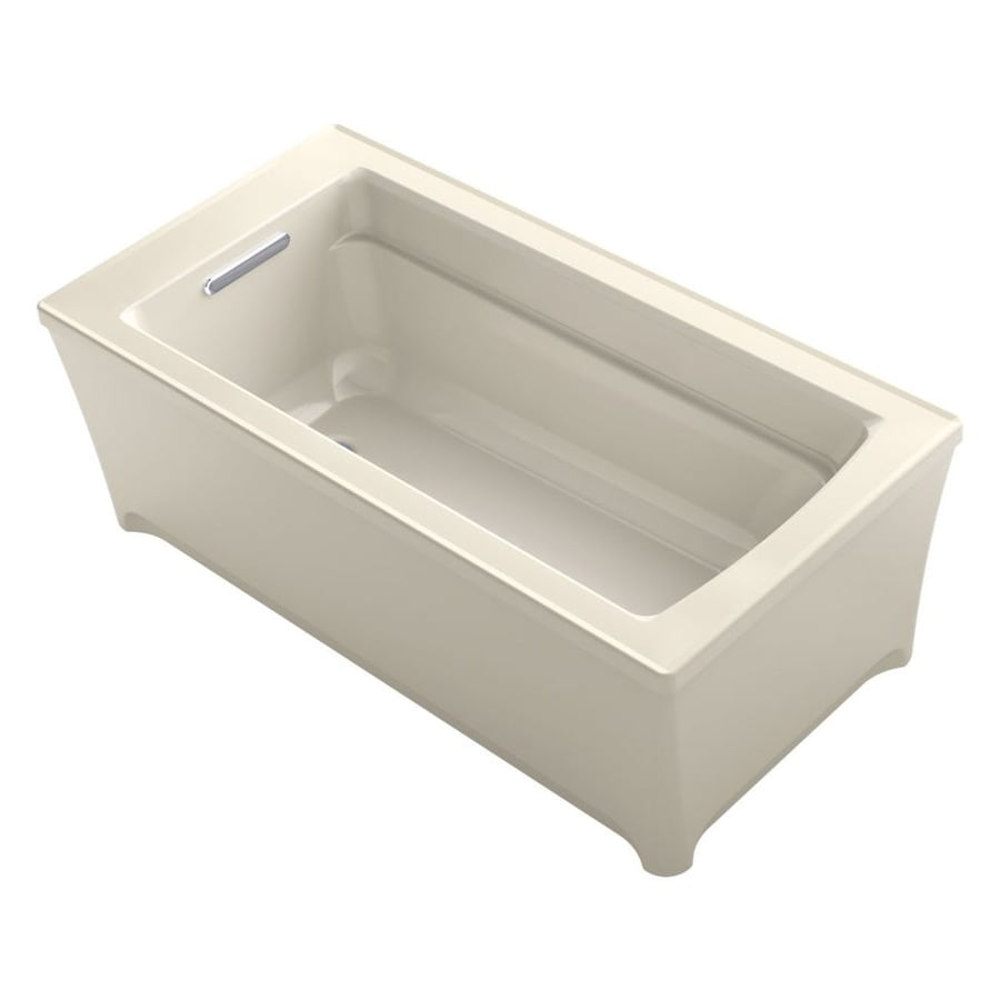 KOHLER Archer 62-in Almond Acrylic Freestanding Bathtub with Reversible Drain