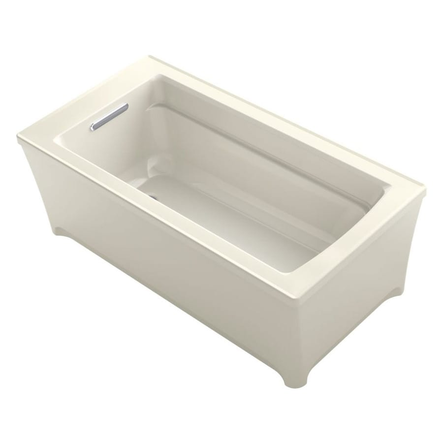 KOHLER Archer Biscuit Acrylic Rectangular Freestanding Bathtub with Reversible Drain (Common: 32-in x 62-in; Actual: 22-in x 32-in x 62-in)