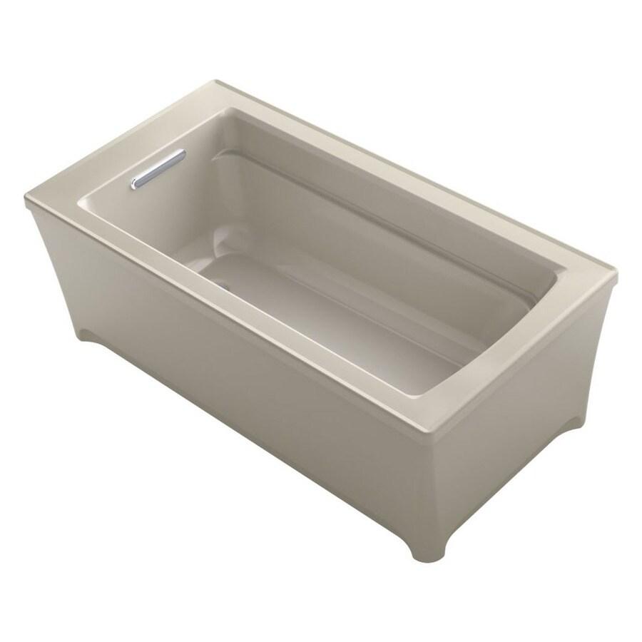 KOHLER Archer Sandbar Acrylic Rectangular Freestanding Bathtub with Reversible Drain (Common: 32-in x 62-in; Actual: 22-in x 32-in x 62-in)