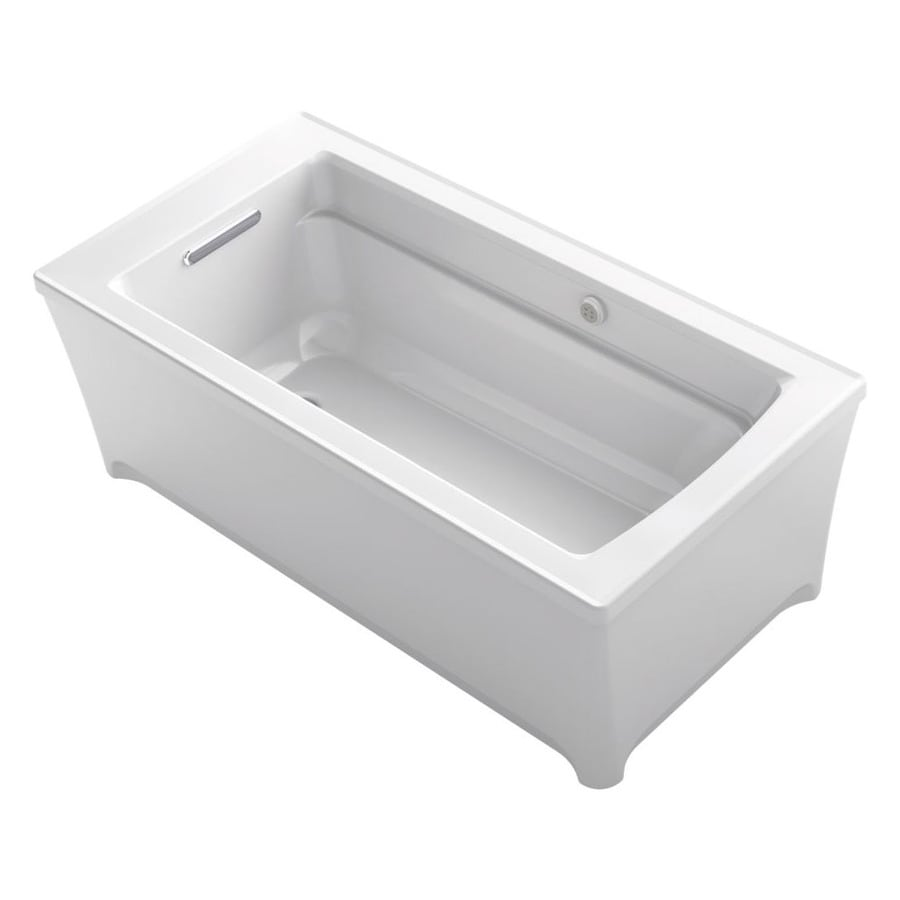 KOHLER Archer White Acrylic Rectangular Freestanding Bathtub with Reversible Drain (Common: 32-in x 62-in; Actual: 22-in x 31.75-in x 61.75-in)
