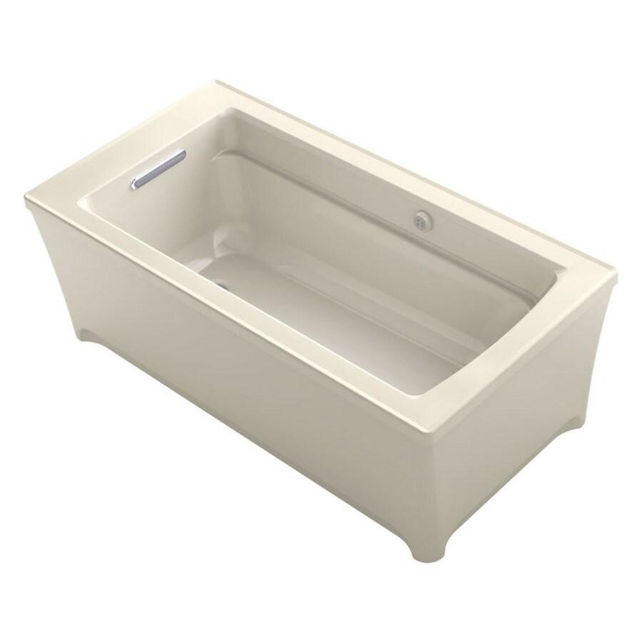 KOHLER Archer Almond Acrylic Rectangular Freestanding Bathtub with Reversible Drain (Common: 32-in x 62-in; Actual: 22-in x 31.75-in x 61.75-in)