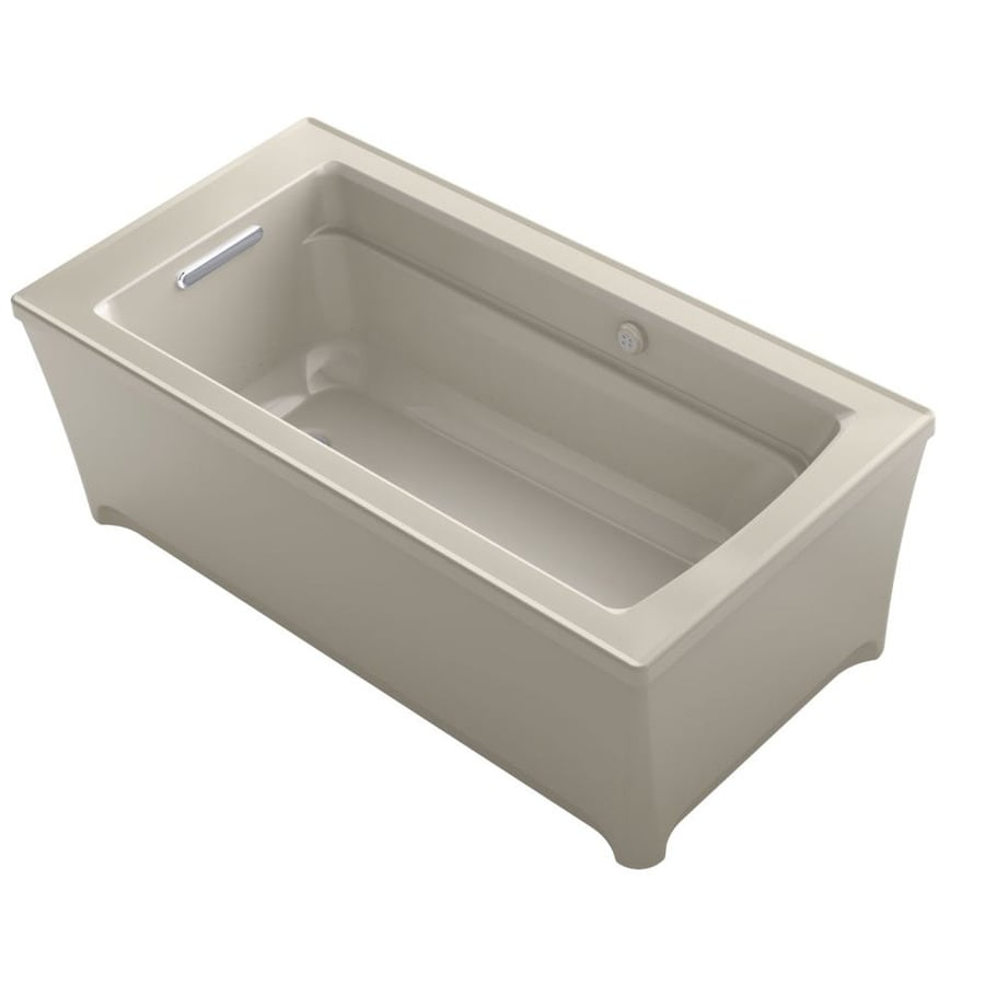 KOHLER Archer 62-in Sandbar Acrylic Freestanding Air Bath with Reversible Drain