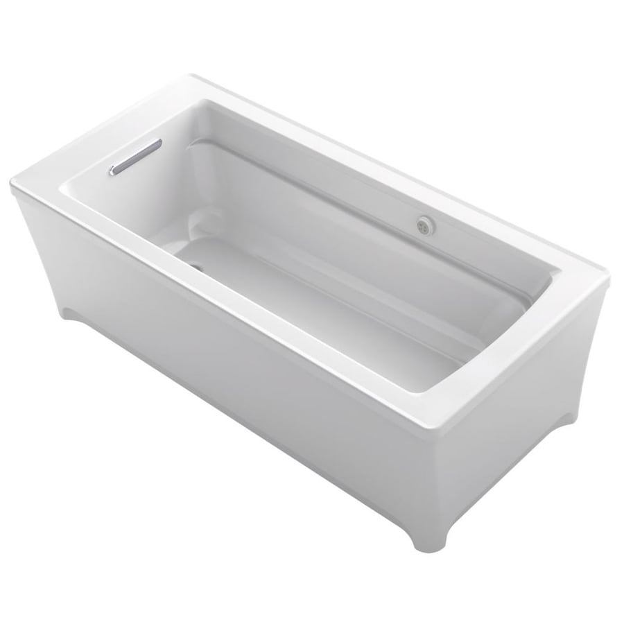 KOHLER Archer White Acrylic Rectangular Freestanding Bathtub with Reversible Drain (Common: 32-in x 68-in; Actual: 22-in x 32-in x 68-in)