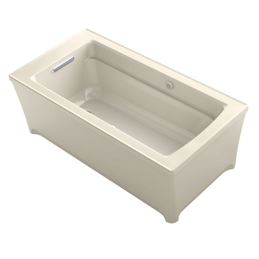 KOHLER Archer 62-in Almond Acrylic Freestanding Air Bath with Front Center Drain