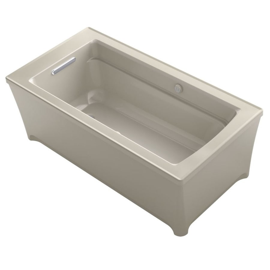 KOHLER Archer 62-in Sandbar Acrylic Freestanding Air Bath with Front Center Drain
