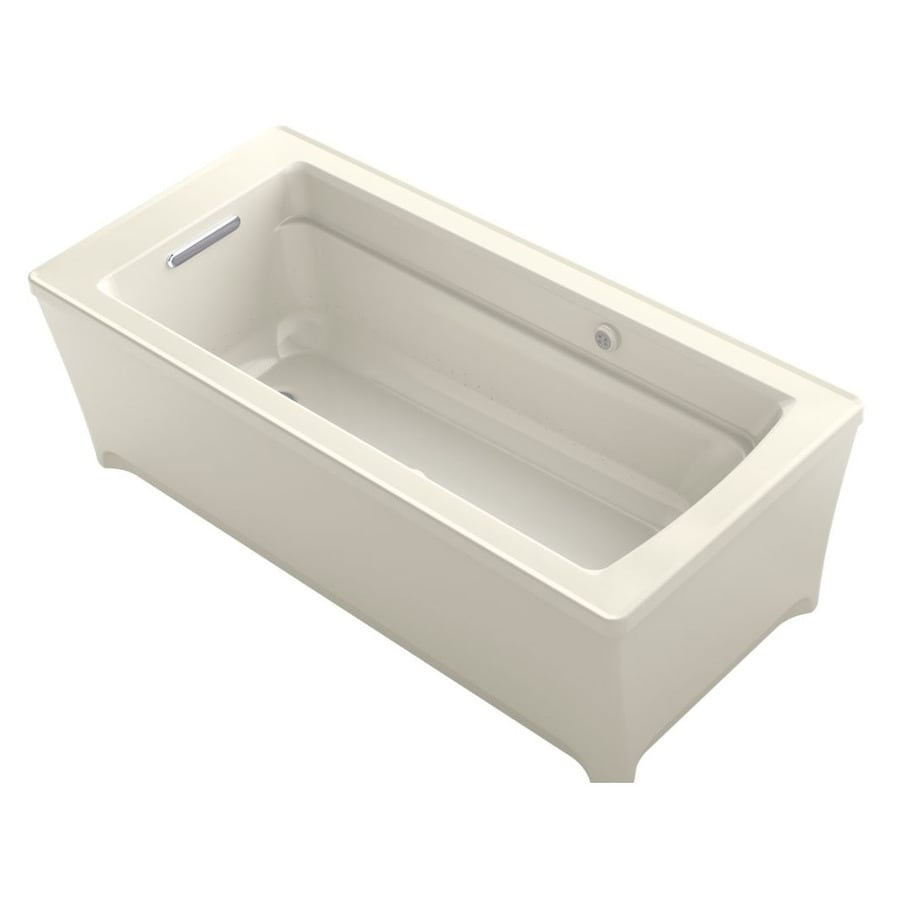 KOHLER Archer 68-in L x 32-in W x 22-in H Biscuit Acrylic Rectangular Freestanding Air Bath