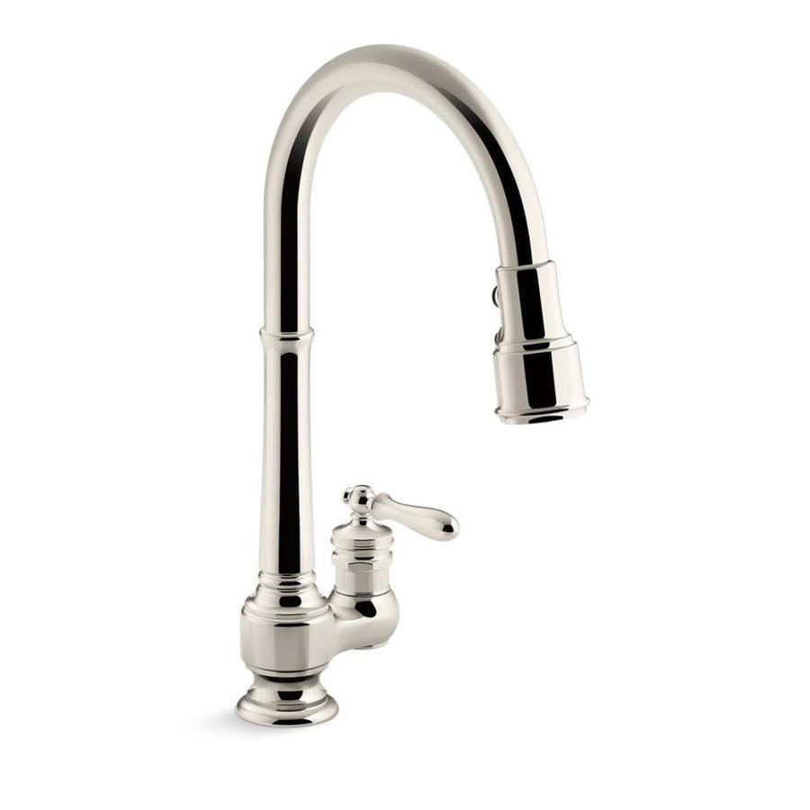 KOHLER Artifacts Vibrant Polished Nickel 1-Handle Pull-Down Kitchen Faucet