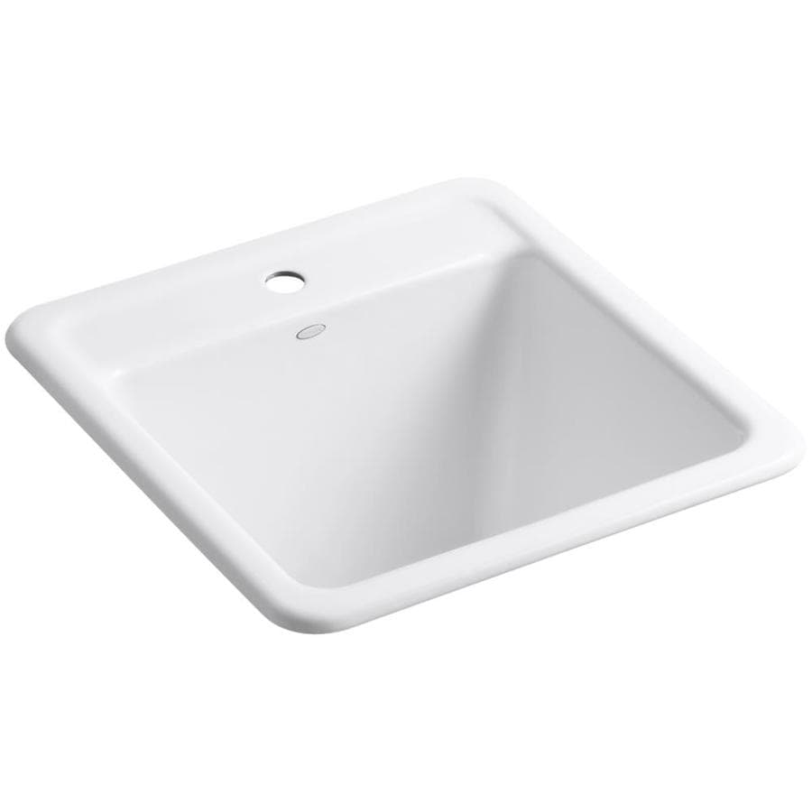 KOHLER 22-in x 21-in Single-Basin White Undermount Cast Iron Utility Tub
