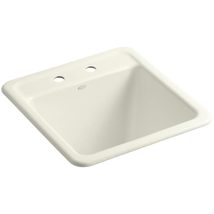 KOHLER 22-in x 21-in Single-Basin Biscuit Undermount Cast Iron Utility Tub