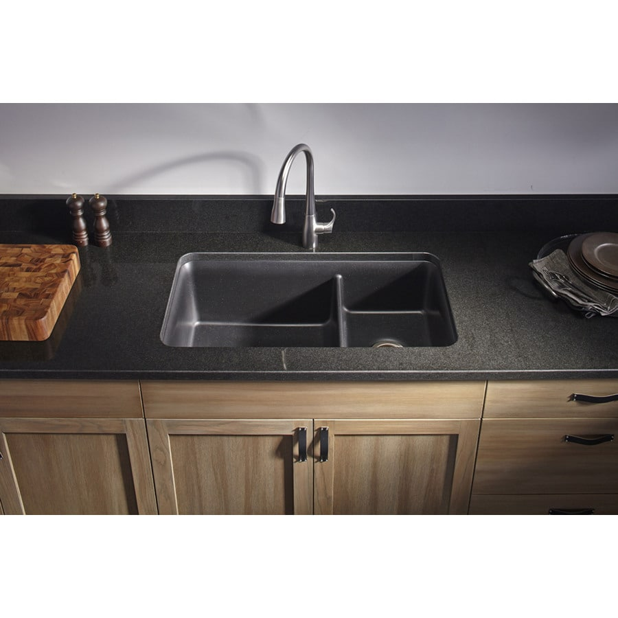 KOHLER Cairn 18.3125-in x 33.5-in Matte Black Double-Basin Composite Undermount Residential Kitchen Sink All-In-One Kit