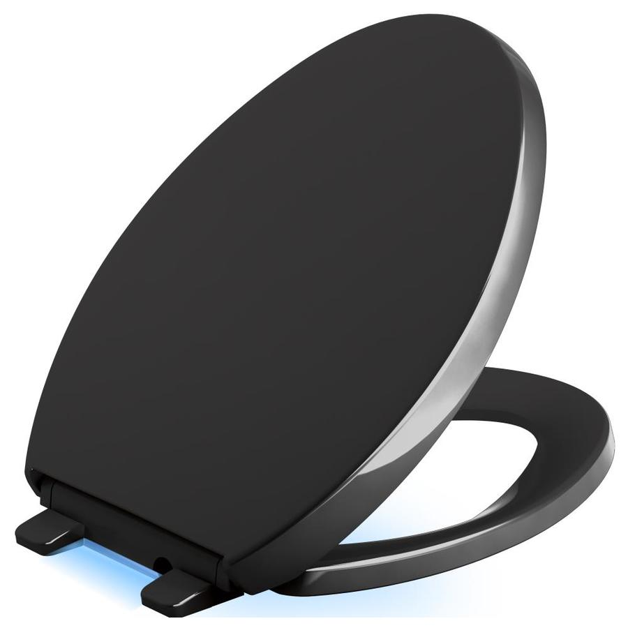 KOHLER Reveal Black Plastic Elongated Slow-Close Toilet Seat