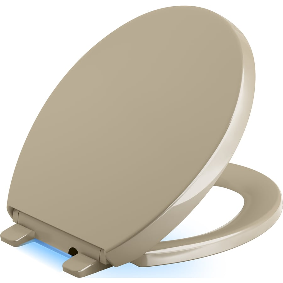 KOHLER Reveal Mexican Sand Plastic Round Slow-Close Toilet Seat