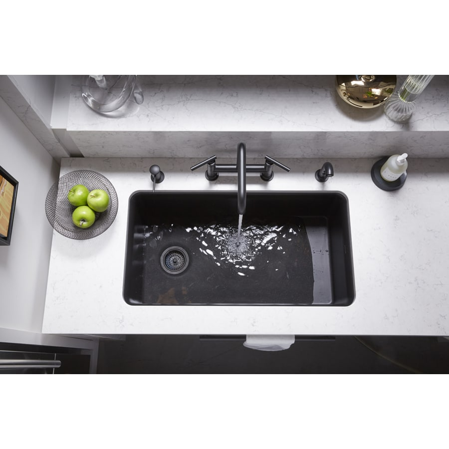 KOHLER Cairn 18.3125-in x 33.5000-in Matte Black Single-Basin Composite Undermount Residential Kitchen Sink All-In-One Kit