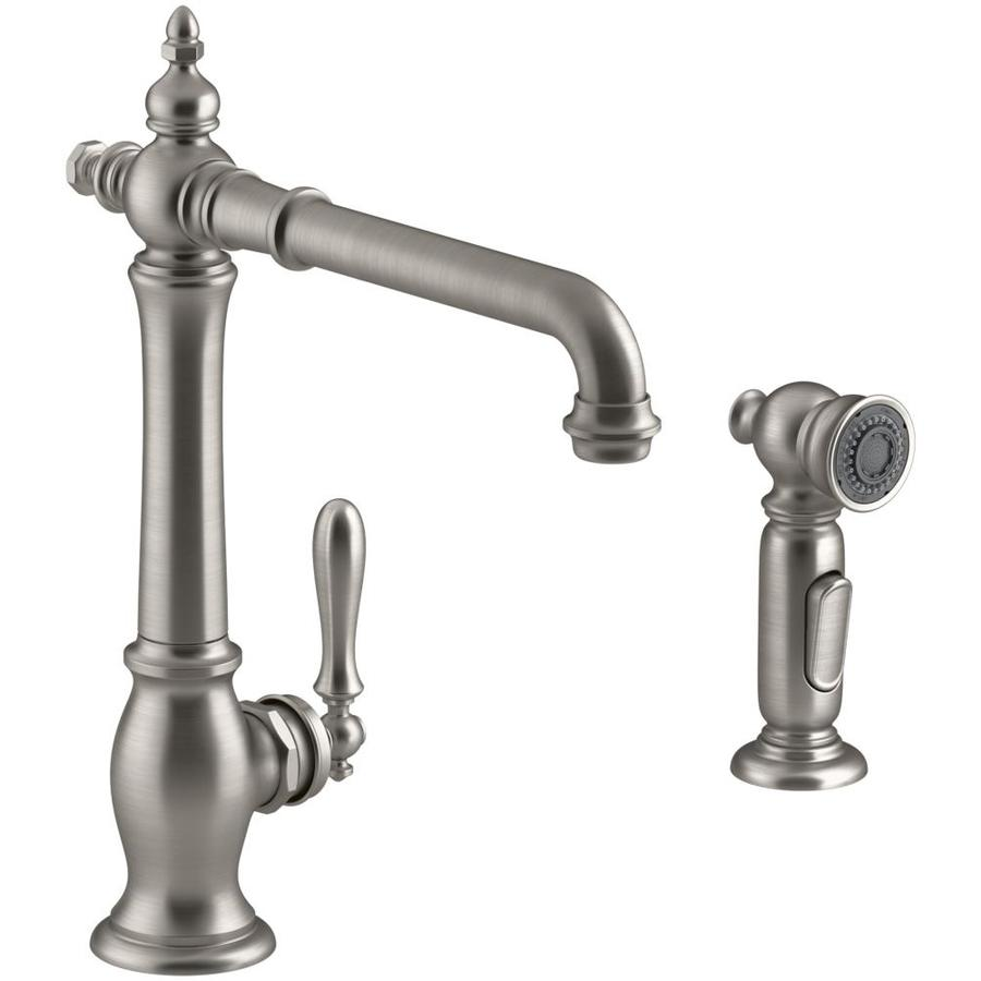 Shop Kohler Artifacts Vibrant Stainless 1 Handle High Arc Kitchen Faucet At
