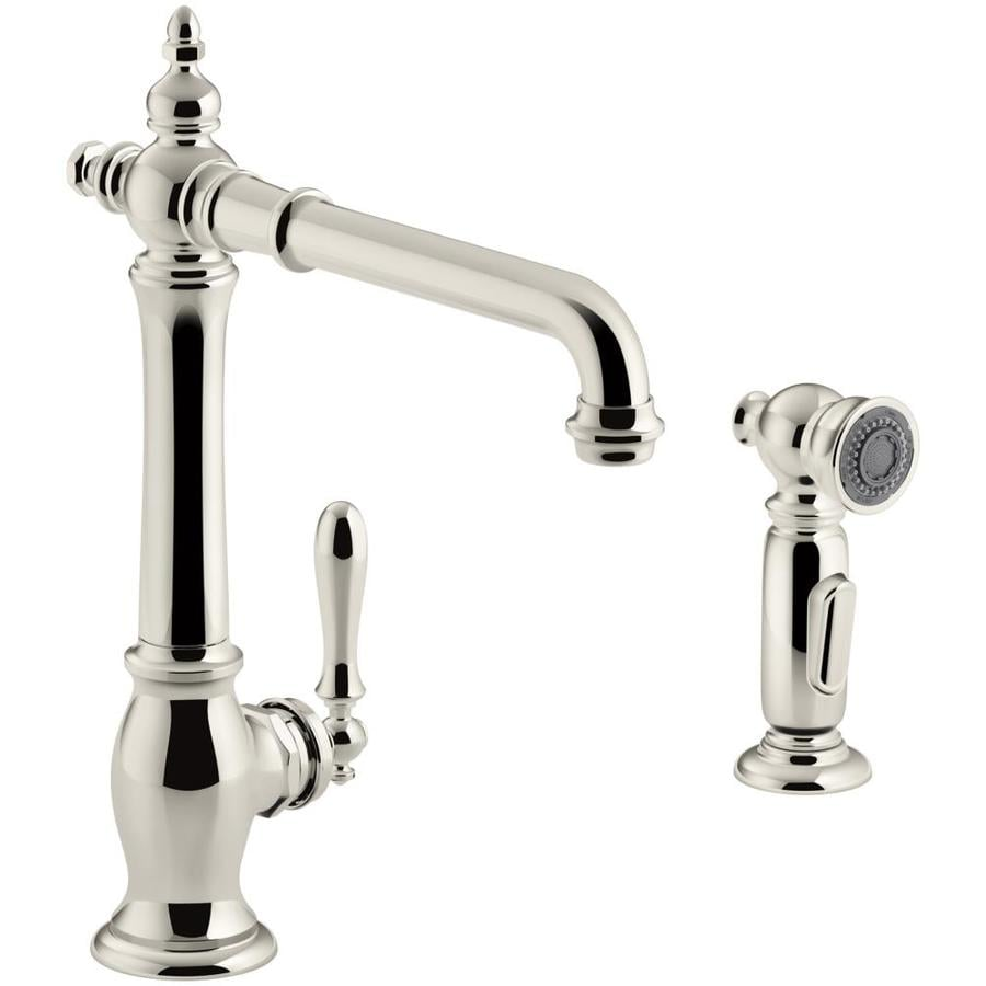 KOHLER Artifacts Vibrant Polished Nickel 1-Handle High-Arc Kitchen Faucet