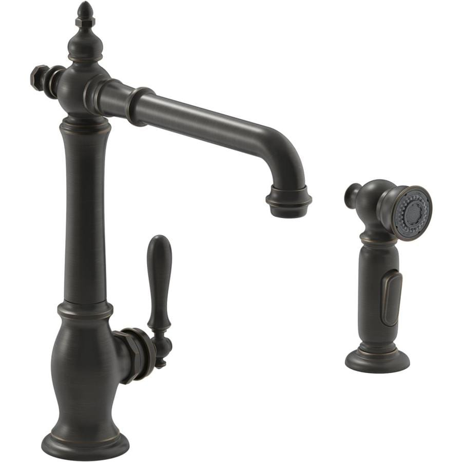 Kohler Artifacts Oil Rubbed Bronze 1 Handle Deck Mount High Arc Handle Kitchen Faucet In The Kitchen Faucets Department At Lowes Com