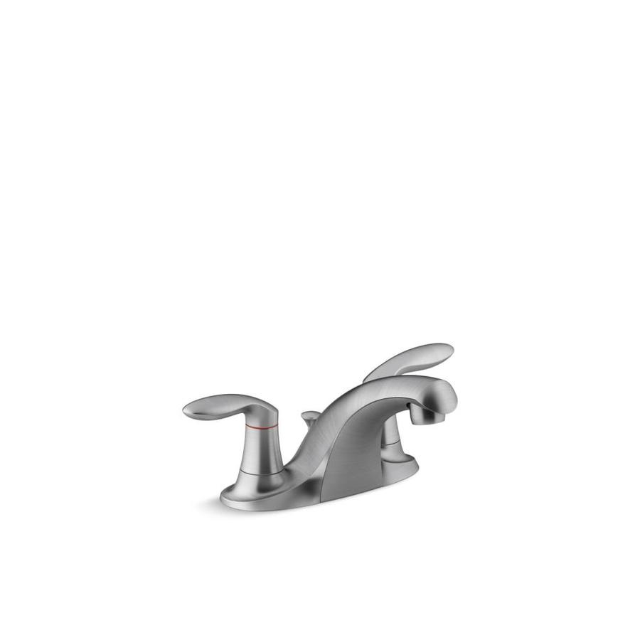 Brushed Chrome 1 KOHLER K-15241-4RA-G Coralais Two-Handle Centerset Bathroom Sink Faucet with Metal Pop-up Drain and Lift Rod
