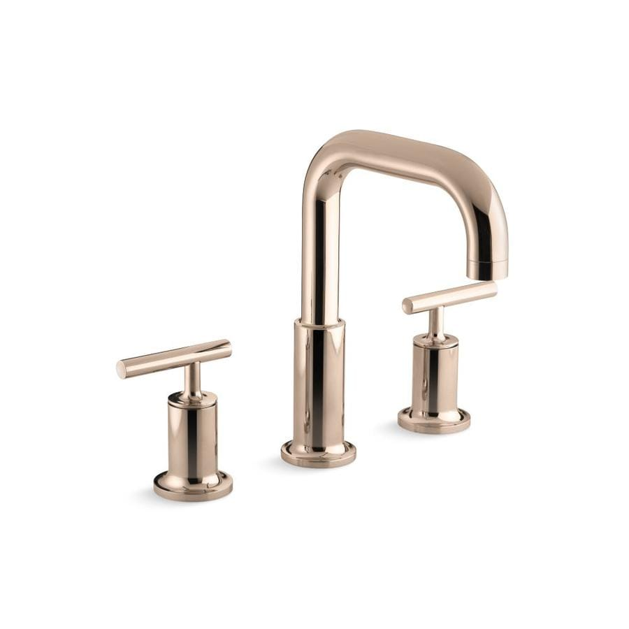 Shop KOHLER Purist Vibrant Rose Gold 2-Handle Fixed Deck Mount ...