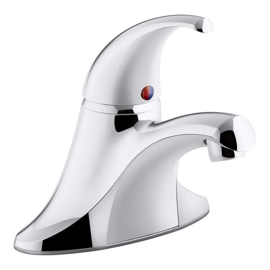 KOHLER Coralais Polished Chrome 1-Handle 4-in Centerset WaterSense Bathroom Faucet