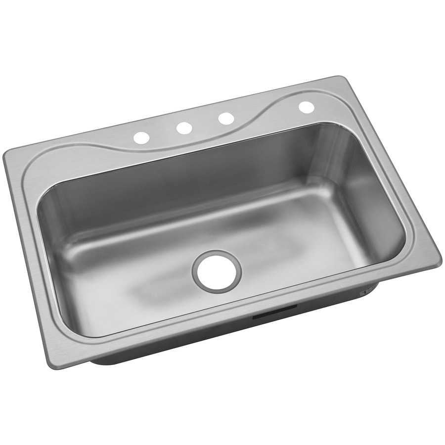 Sterling Southhaven 33-in x 22-in Single-Basin Stainless Steel Drop-in 4-Hole Commercial/Residential Kitchen Sink