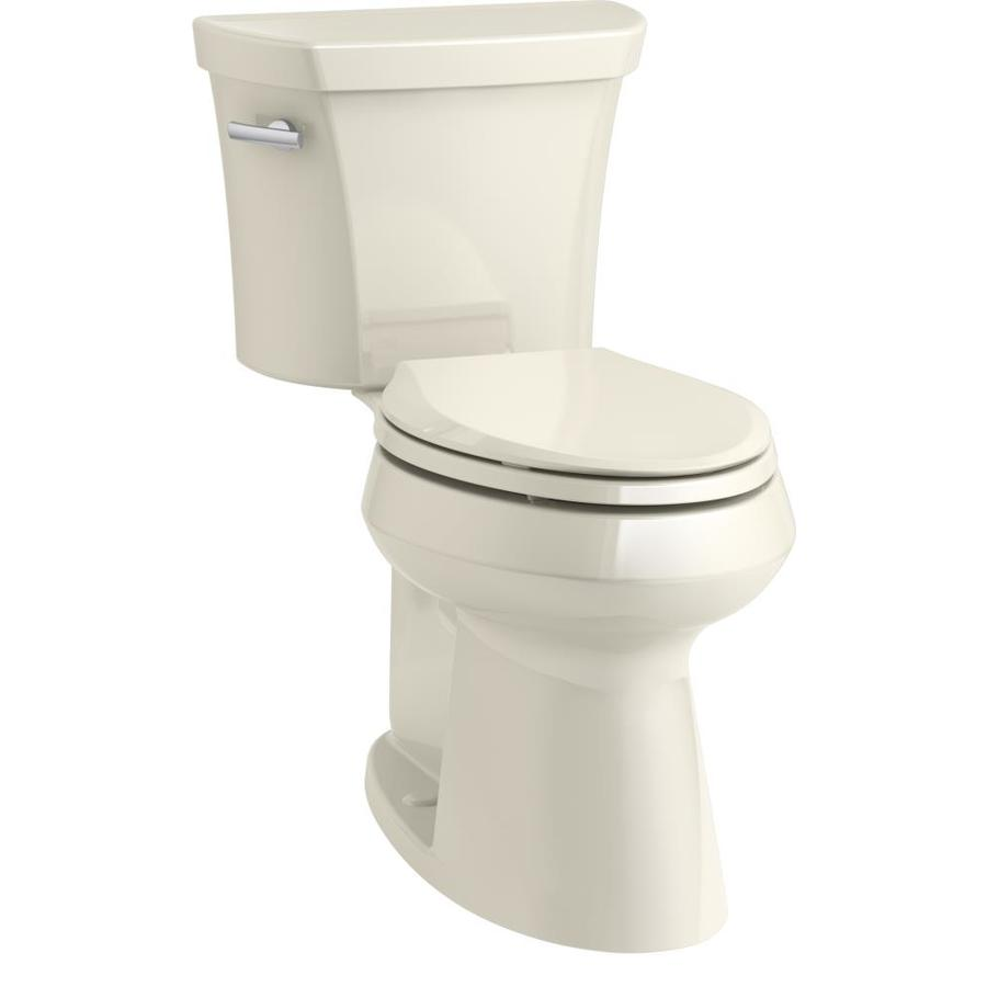 KOHLER Highline 1.28 Almond WaterSense Elongated Chair Height 1-Piece Toilet