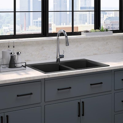 Kennon 33-in x 22-in Matte Black Double Equal Bowl Undermount 1-Hole  Residential Kitchen Sink