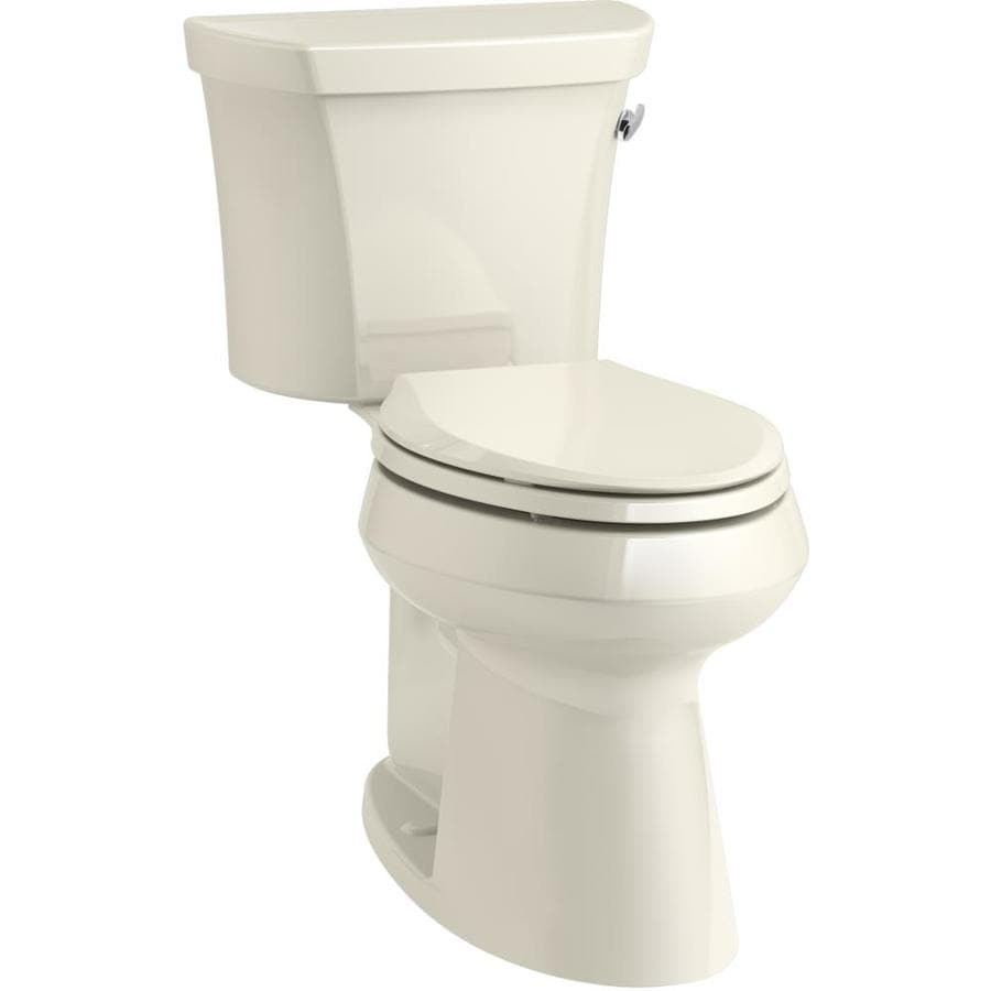 KOHLER Highline Almond WaterSense Labeled  Elongated Chair Height 1-piece Toilet 12-in Rough-In Size