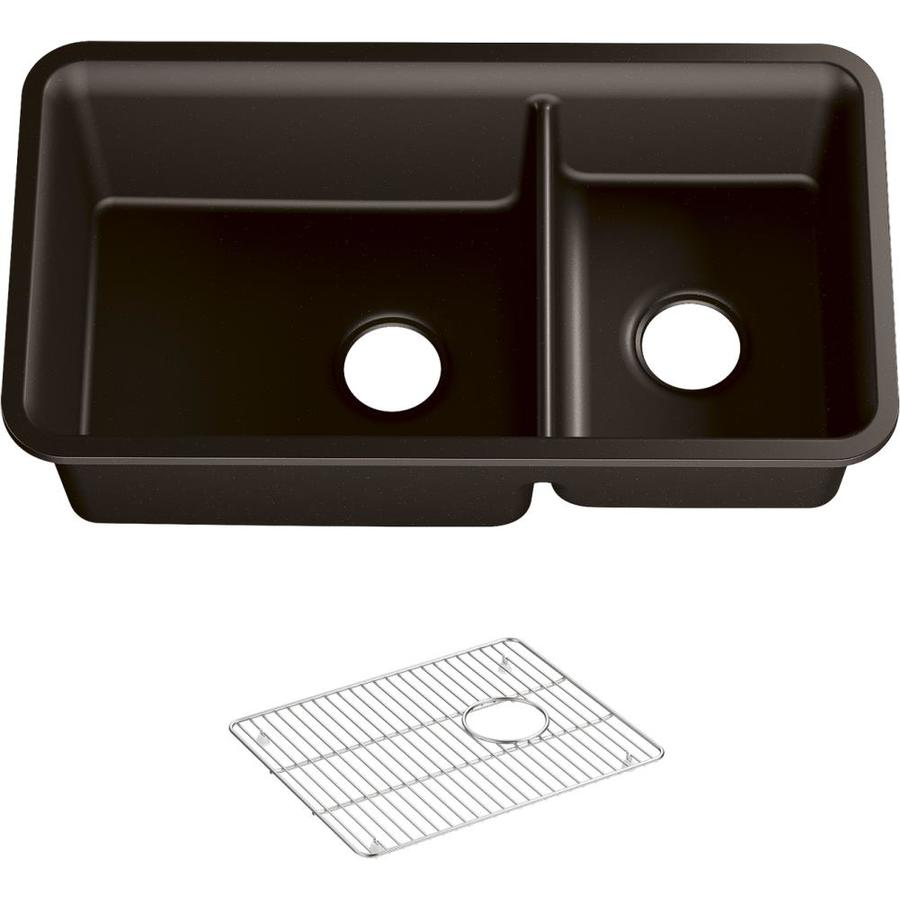KOHLER Cairn 18.3125-in x 33.5000-in Matte Brown Double-Basin Composite Undermount Residential Kitchen Sink All-In-One Kit