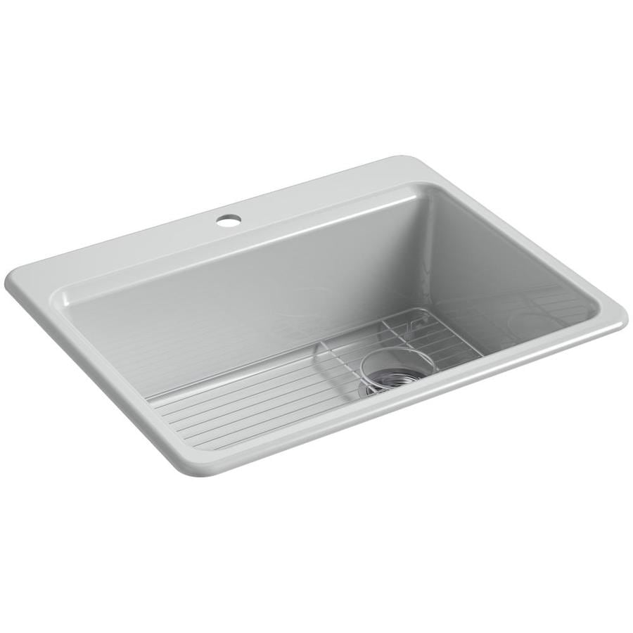 KOHLER Riverby 22-in x 27-in Ice Grey Single-Basin Cast Iron Drop-in 1-Hole Residential Kitchen Sink