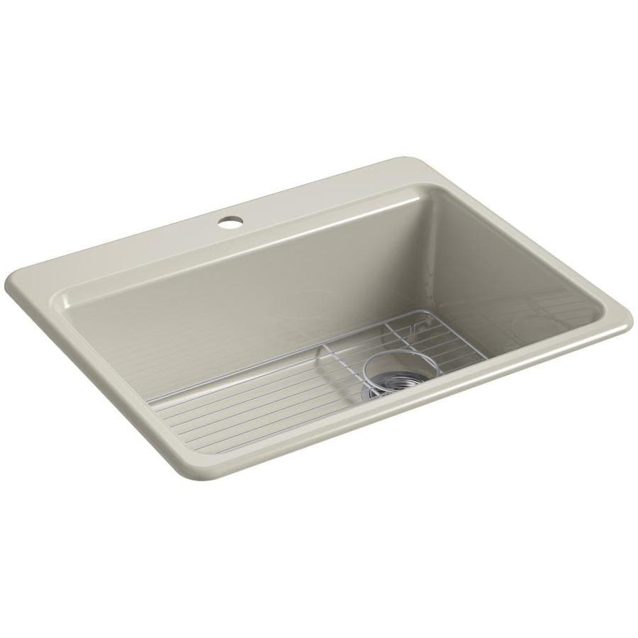 KOHLER Riverby 22-in x 27-in Sandbar Single-Basin-Basin Cast Iron Drop-in 1-Hole Residential Kitchen Sink
