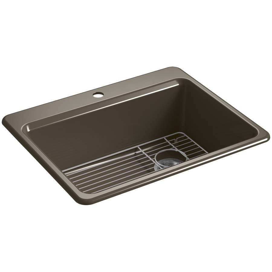 KOHLER Riverby 22-in x 27-in Suede Single-Basin Cast Iron Drop-in 1-Hole Residential Kitchen Sink