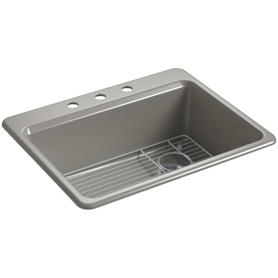 KOHLER Riverby 22-in x 27-in Cashmere Single-Basin Cast Iron Drop-in 3-Hole Residential Kitchen Sink