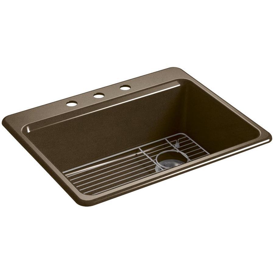 KOHLER Riverby 22-in x 27-in Black 'N Tan Single-Basin Cast Iron Drop-in 3-Hole Residential Kitchen Sink