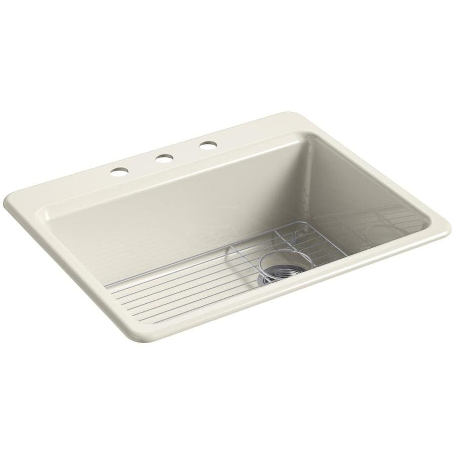 Shop kohler riverby 22 in x 27 in cane sugar single basin - Cast iron kitchen sink manufacturers ...