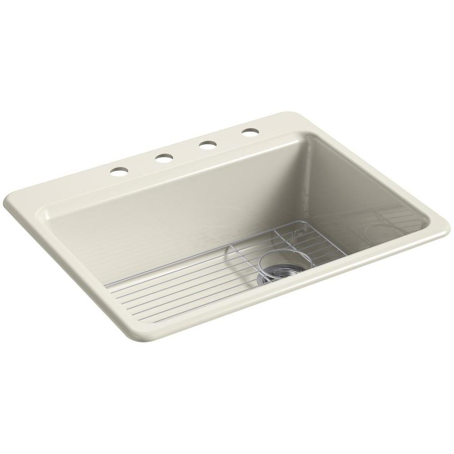 KOHLER Riverby 22-in x 27-in Almond Single-Basin Cast Iron Drop-in 4-Hole Residential Kitchen Sink