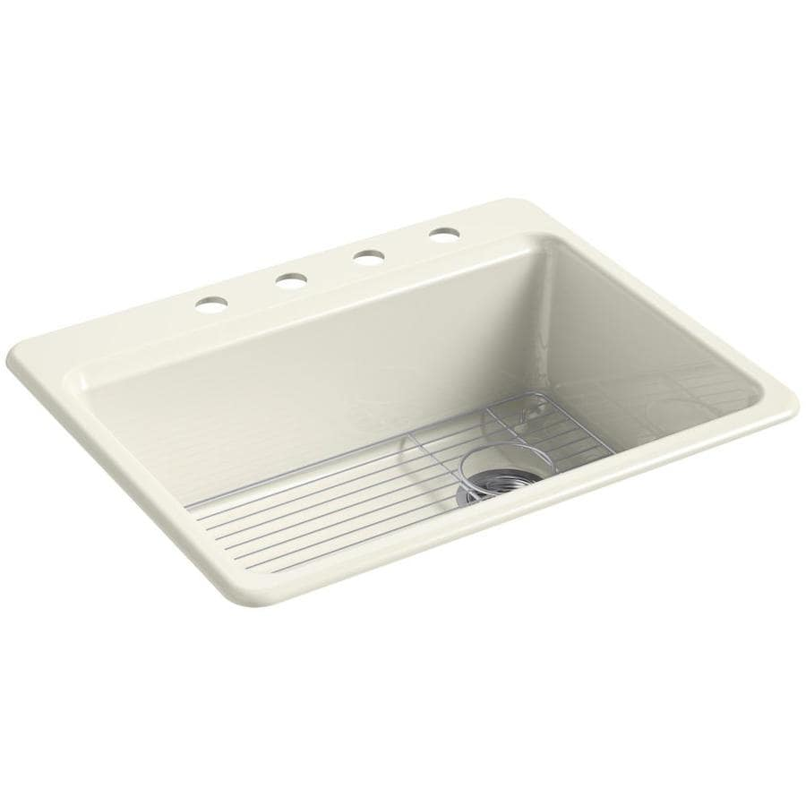 KOHLER Riverby 22-in x 27-in Biscuit Single-Basin Cast Iron Drop-in 4-Hole Residential Kitchen Sink