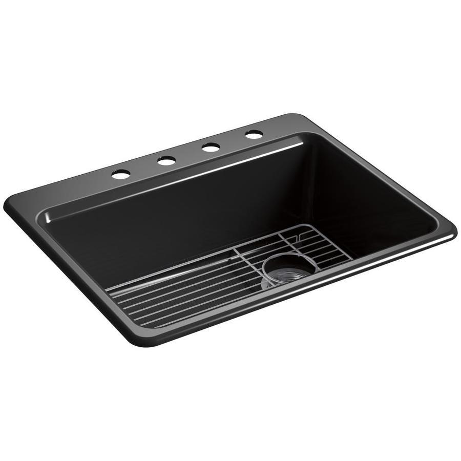KOHLER Riverby 22-in x 27-in Black Single-Basin Cast Iron Drop-in 4-Hole Residential Kitchen Sink