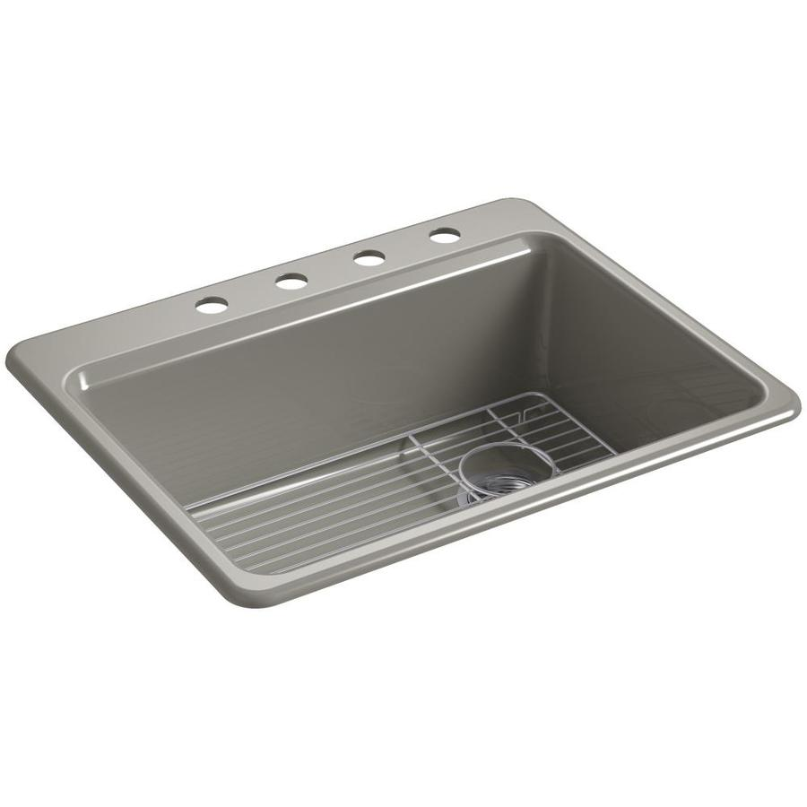 KOHLER Riverby 22-in x 27-in Cashmere Single-Basin Cast Iron Drop-in 4-Hole Residential Kitchen Sink