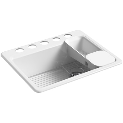 Riverby 27-in x 22-in White Single Bowl Undermount 5-Hole Residential  Kitchen Sink