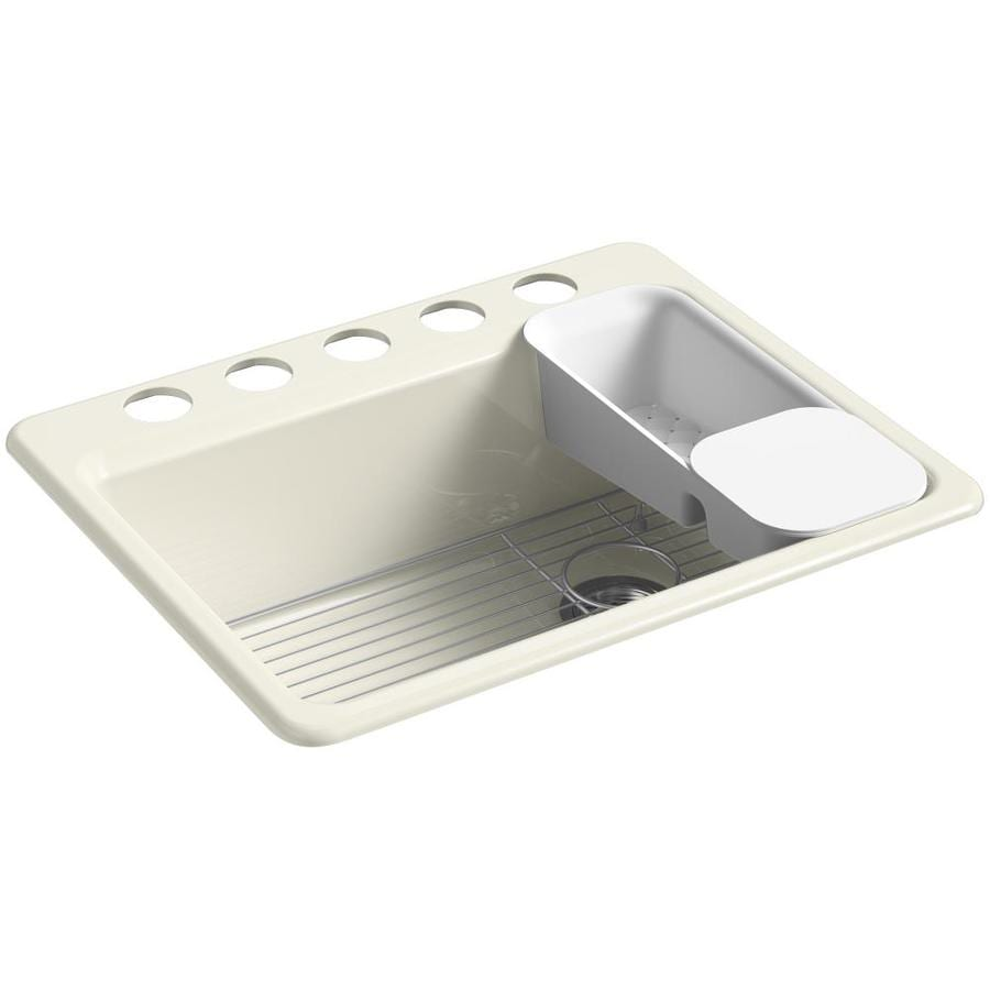 Shop kohler riverby x biscuit single - Cast iron kitchen sink manufacturers ...