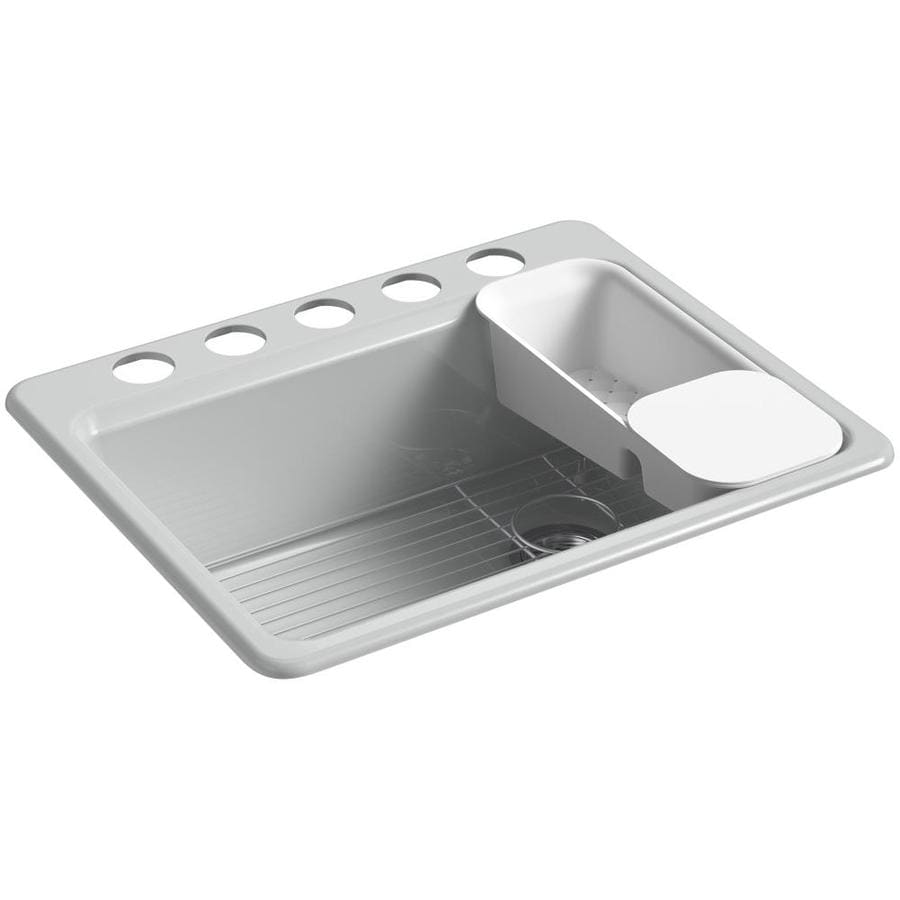 KOHLER Riverby 22.0000-in x 27.0000-in Ice Grey Single-Basin Cast Iron Undermount 5-Hole Residential Kitchen Sink