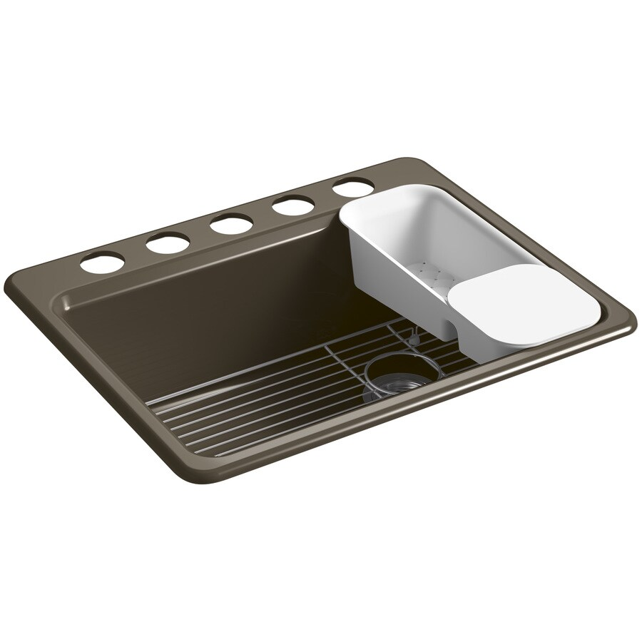 KOHLER Riverby 22-in x 27-in Suede Single-Basin Cast Iron Undermount 5-Hole Residential Kitchen Sink