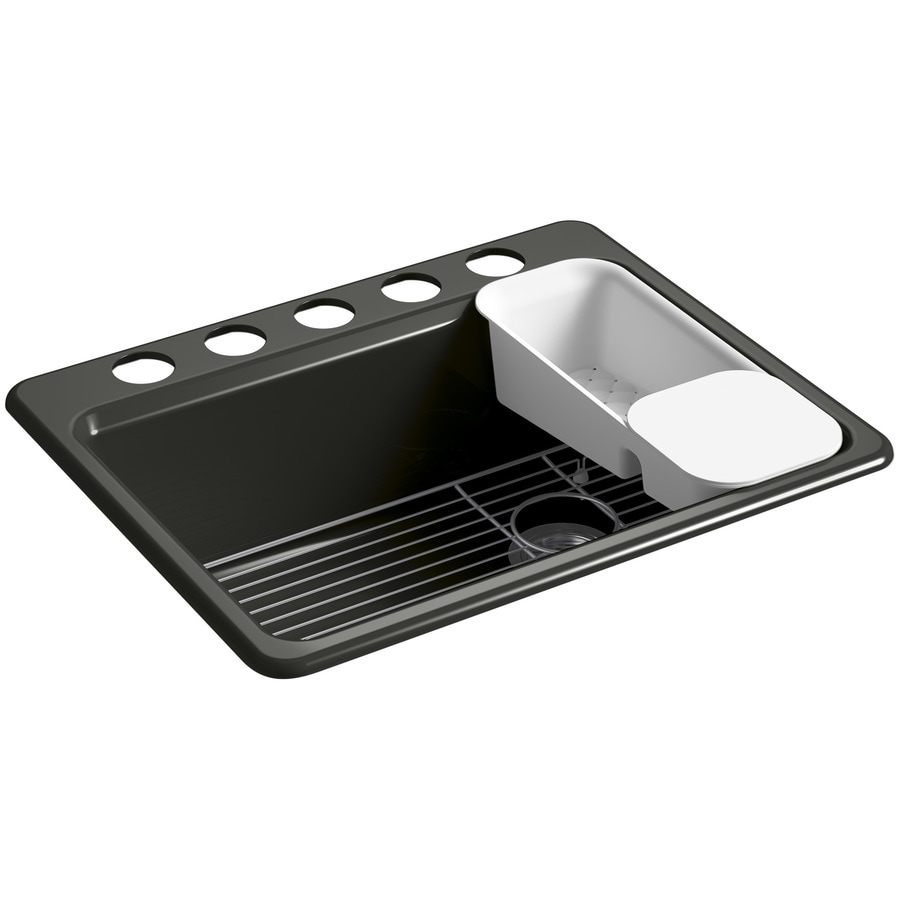 KOHLER Riverby 22-in x 27-in Caviar Single-Basin Cast Iron Undermount 5-Hole Residential Kitchen Sink