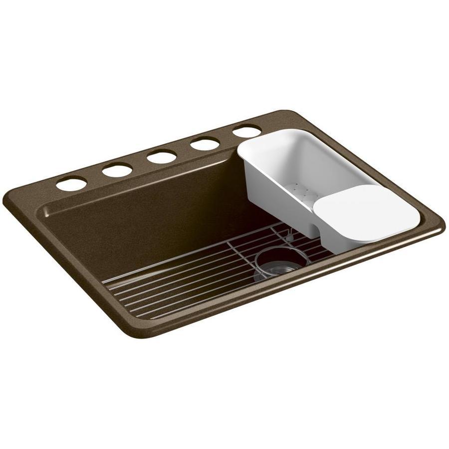 KOHLER Riverby 22-in x 27-in Black 'N Tan Single-Basin Cast Iron Undermount 5-Hole Residential Kitchen Sink
