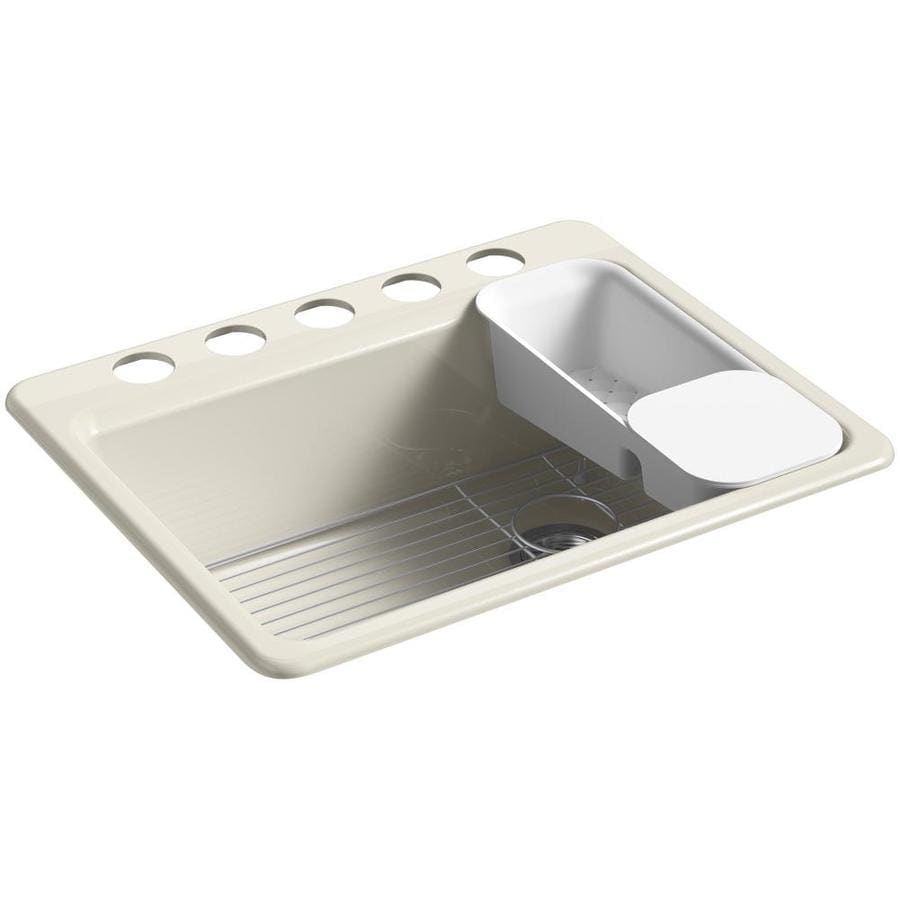 KOHLER Riverby 22-in x 27-in Cane Sugar Single-Basin Cast Iron Undermount 5-Hole Residential Kitchen Sink
