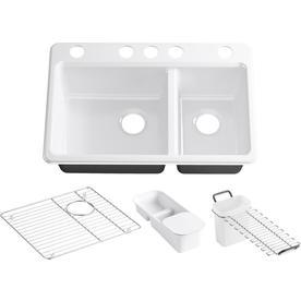 Kohler K8669-5UA3 Undermount Double Basin Kitchen Sink with Accessories